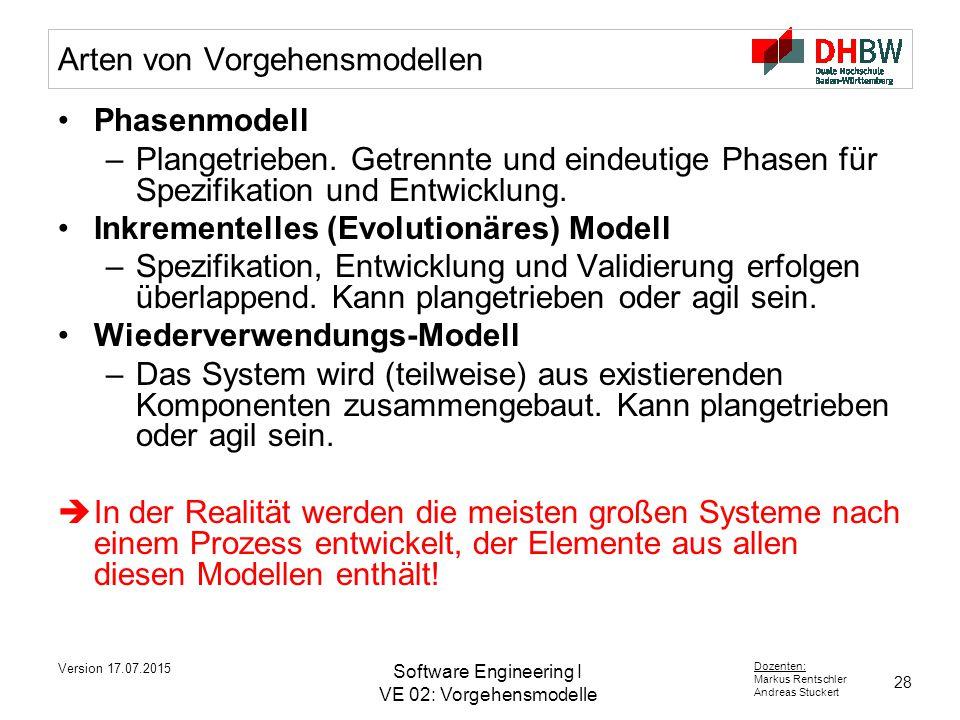 Arten von Vorgehensmodellen