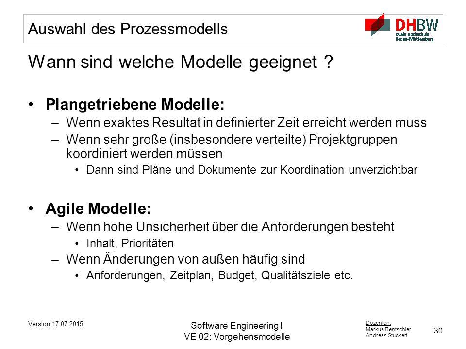 Auswahl des Prozessmodells
