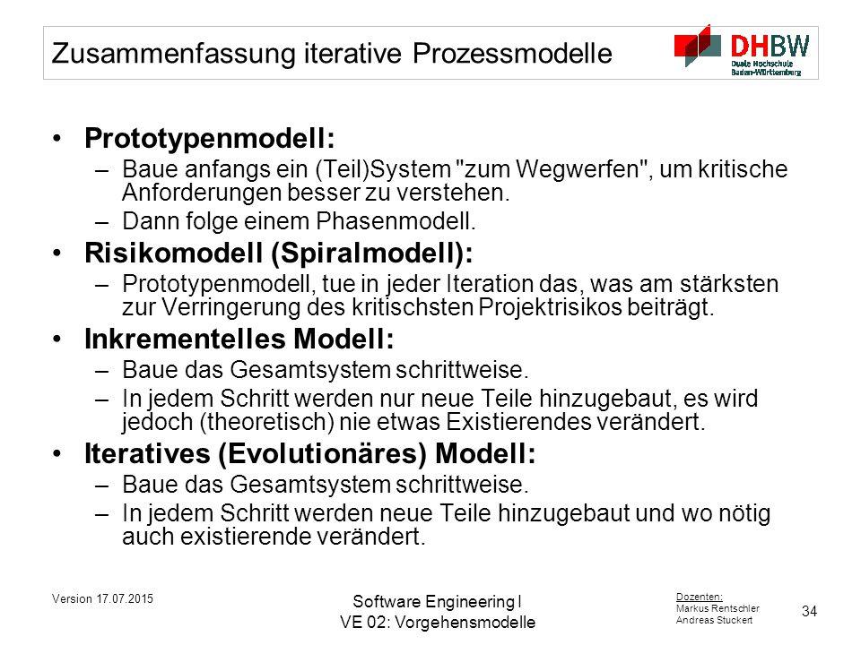 Zusammenfassung iterative Prozessmodelle