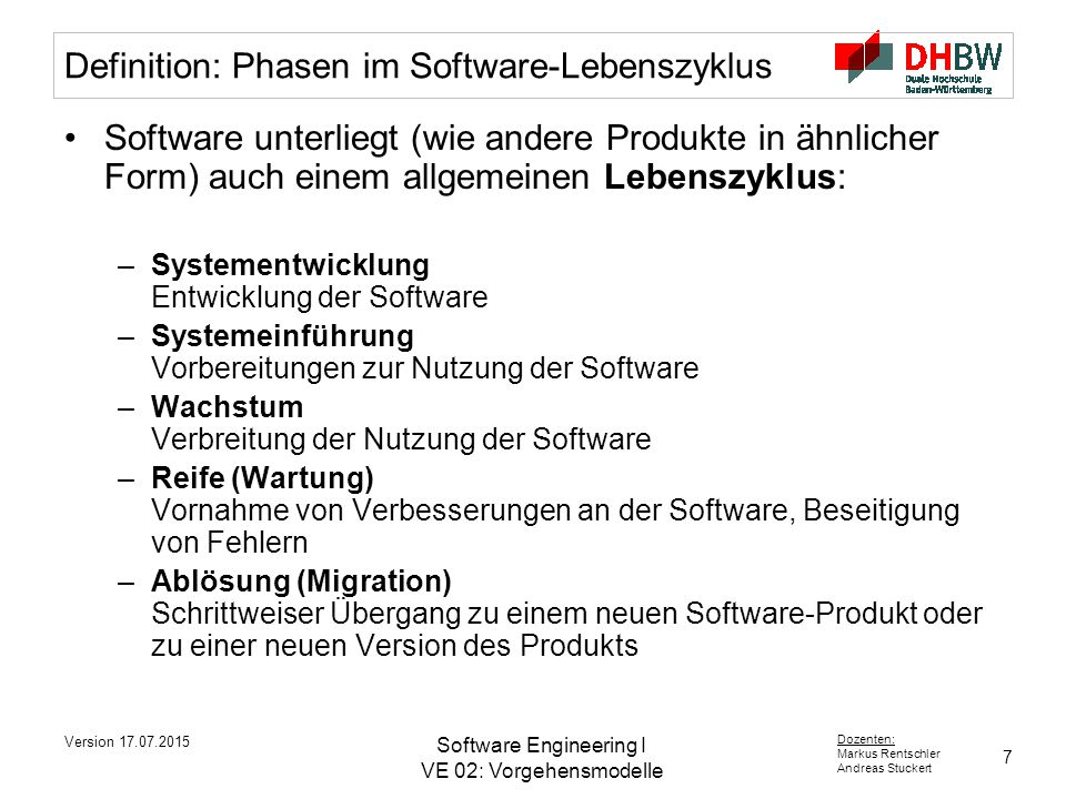 Definition: Phasen im Software-Lebenszyklus