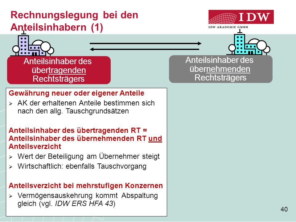 Rechnungslegung bei den Anteilsinhabern (1)