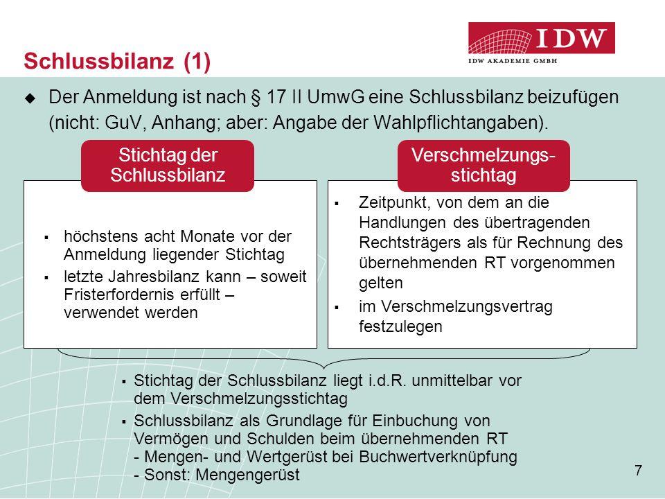 Schlussbilanz (1) Der Anmeldung ist nach § 17 II UmwG eine Schlussbilanz beizufügen (nicht: GuV, Anhang; aber: Angabe der Wahlpflichtangaben).