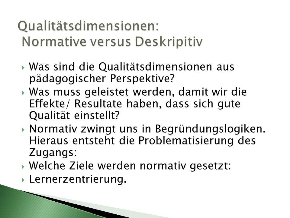 Qualitätsdimensionen: Normative versus Deskripitiv