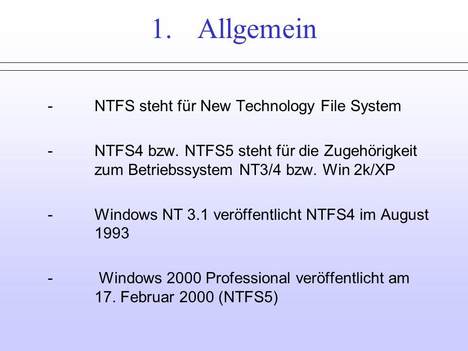 1. Allgemein - NTFS steht für New Technology File System