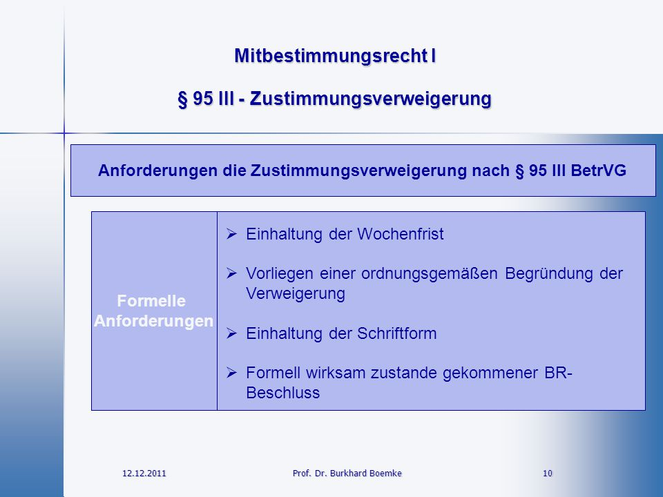 § 95 III - Zustimmungsverweigerung