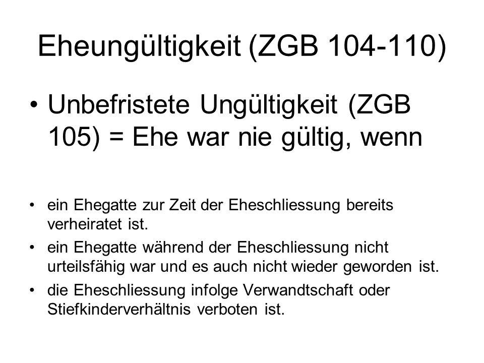 Eheungültigkeit (ZGB 104-110)