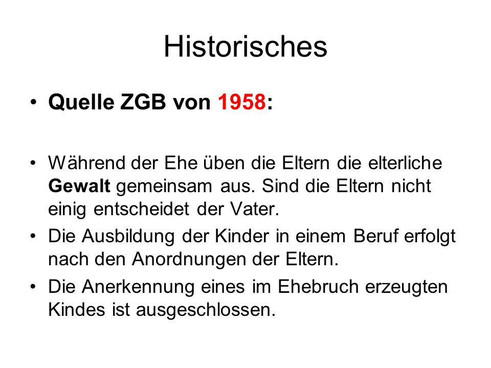 Historisches Quelle ZGB von 1958: