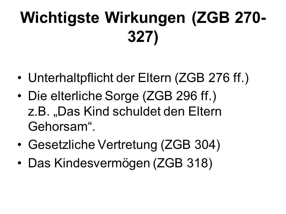 Wichtigste Wirkungen (ZGB 270-327)