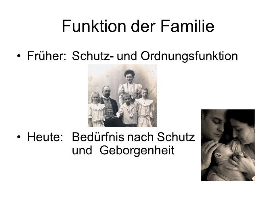 Funktion der Familie Früher: Schutz- und Ordnungsfunktion