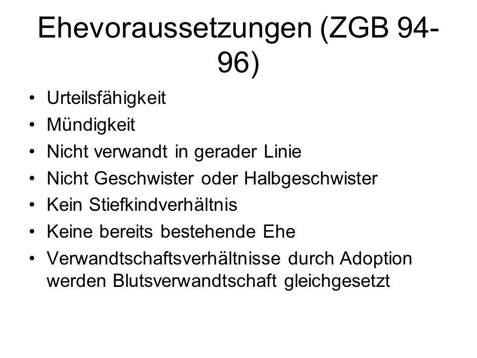 Ehevoraussetzungen (ZGB 94-96)