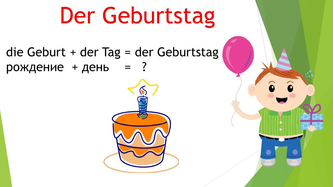 Der Geburtstag die Geburt + der Tag = der Geburtstag
