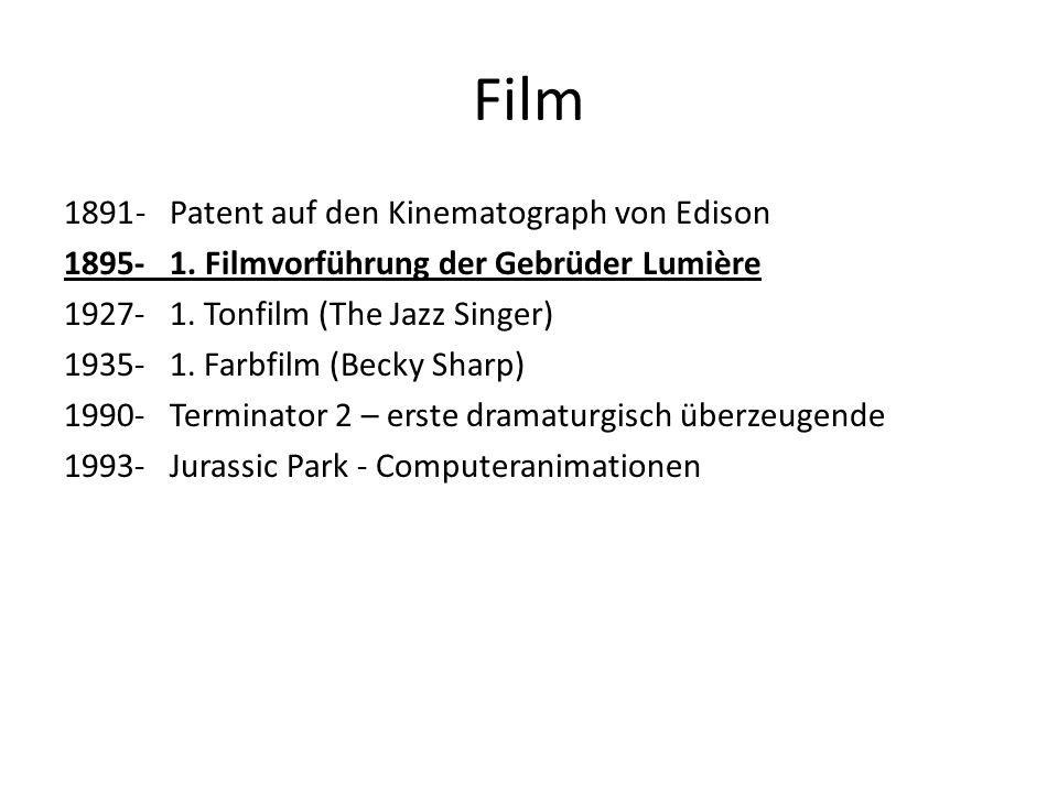Film - Patent auf den Kinematograph von Edison