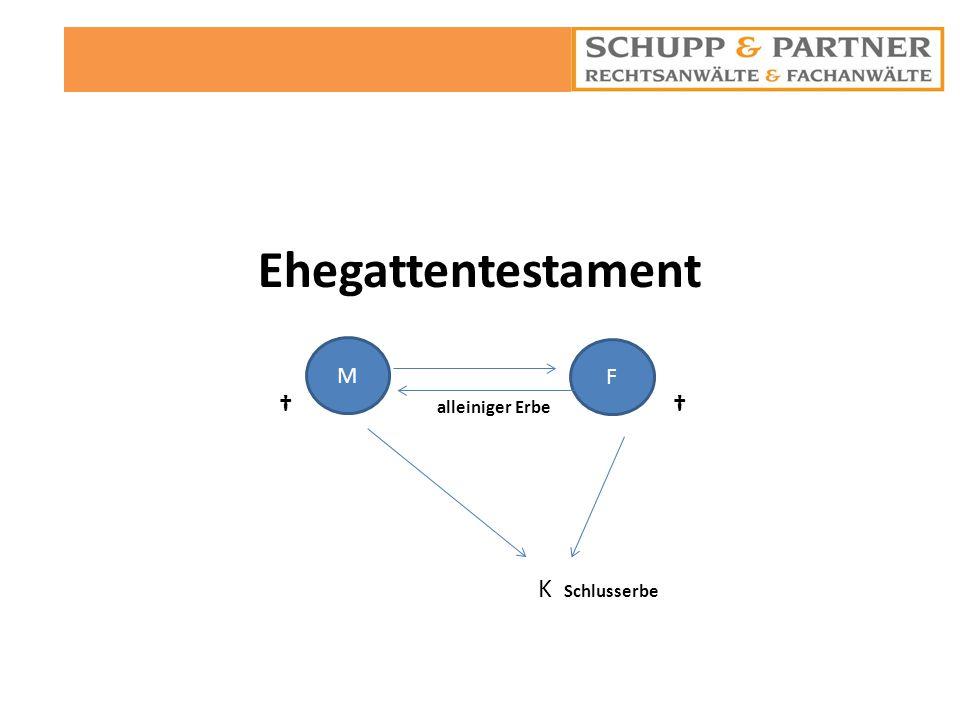 Ehegattentestament † alleiniger Erbe † K Schlusserbe. M.