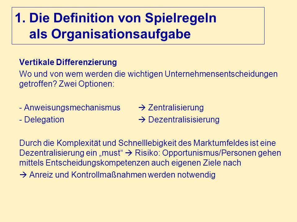 1. Die Definition von Spielregeln als Organisationsaufgabe