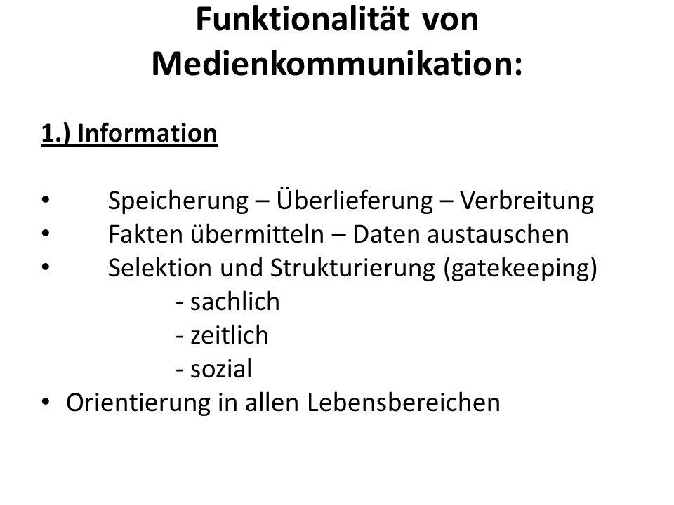 Funktionalität von Medienkommunikation:
