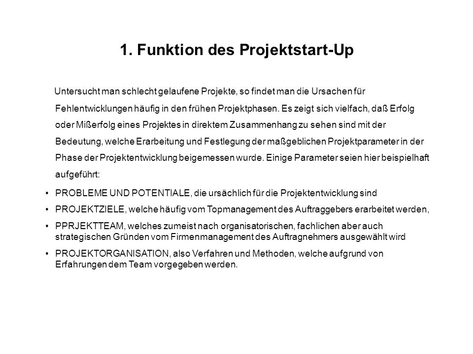 1. Funktion des Projektstart-Up