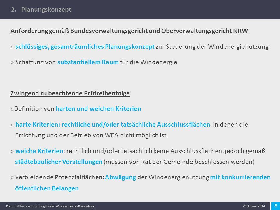 2. Planungskonzept Anforderung gemäß Bundesverwaltungsgericht und Oberverwaltungsgericht NRW.