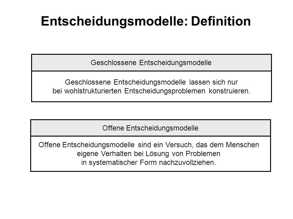 Entscheidungsmodelle: Definition
