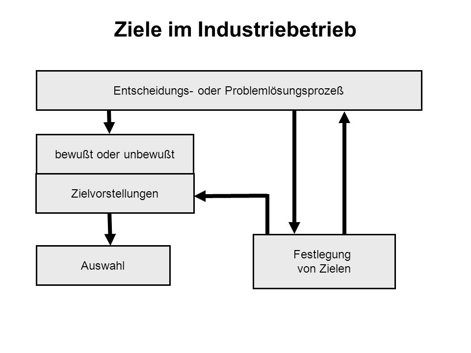 Ziele im Industriebetrieb