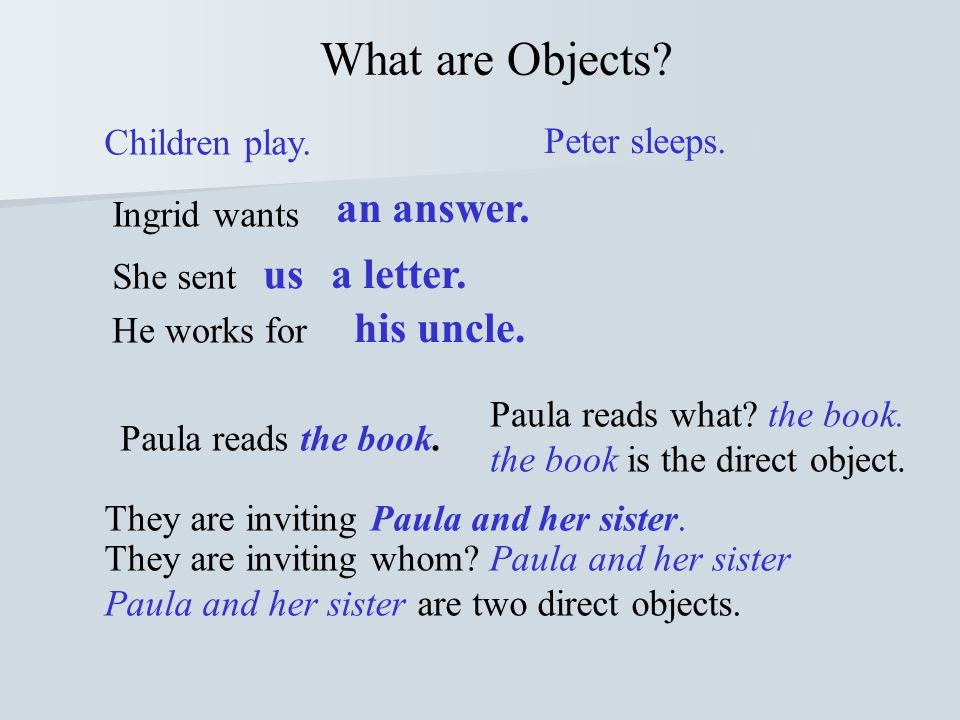 What are Objects us a letter. his uncle. Children play. Peter sleeps.