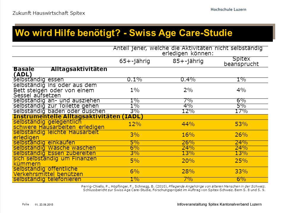Wo wird Hilfe benötigt - Swiss Age Care-Studie