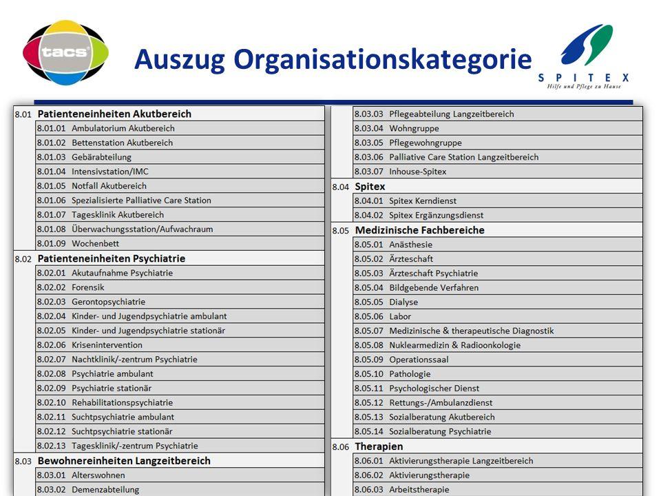 Auszug Organisationskategorie