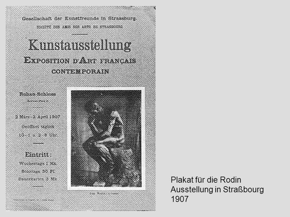 Plakat für die Rodin Ausstellung in Straßbourg 1907