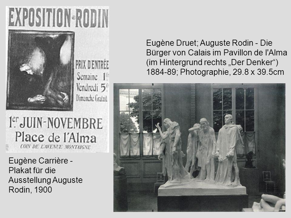 """Eugène Druet; Auguste Rodin - Die Bürger von Calais im Pavillon de l Alma (im Hintergrund rechts """"Der Denker ) 1884-89; Photographie, 29.8 x 39.5cm"""