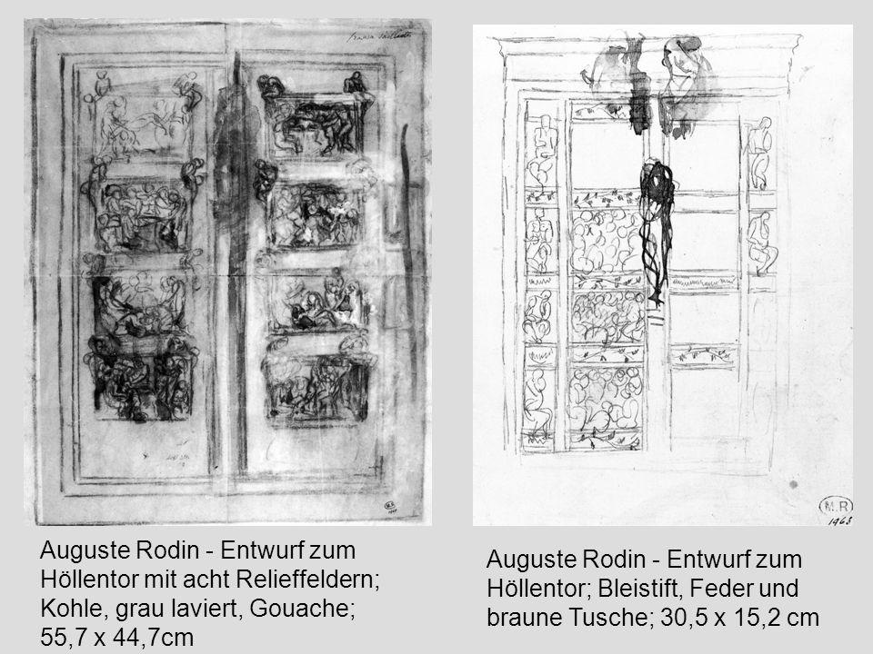 Auguste Rodin - Entwurf zum Höllentor mit acht Relieffeldern; Kohle, grau laviert, Gouache; 55,7 x 44,7cm