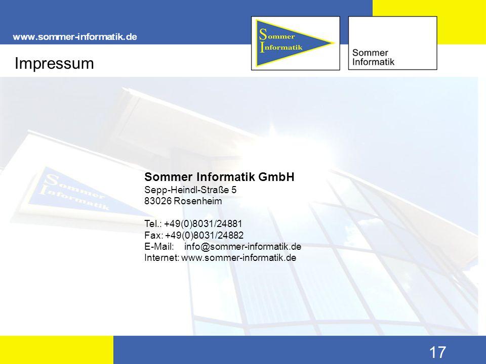 Impressum Sommer Informatik GmbH Sepp-Heindl-Straße 5 83026 Rosenheim