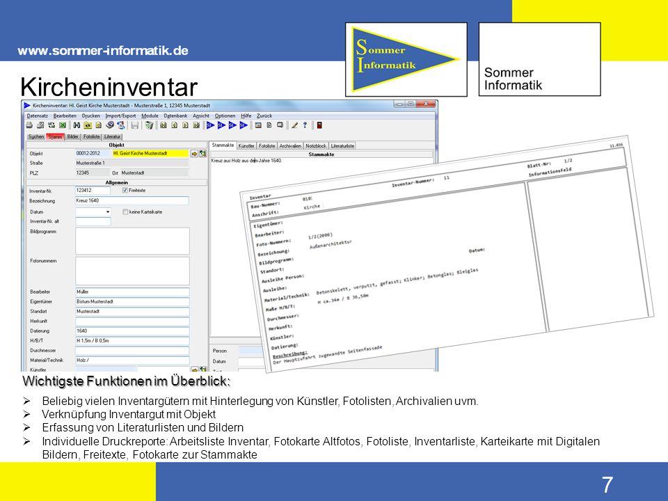 Kircheninventar Wichtigste Funktionen im Überblick: