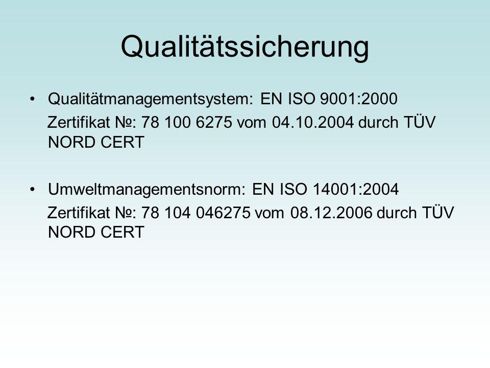 Qualitätssicherung Qualitätmanagementsystem: EN ISO 9001:2000