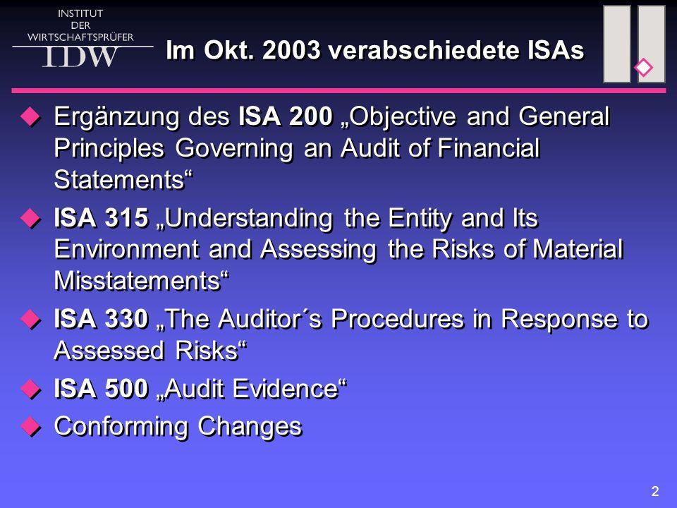 Im Okt. 2003 verabschiedete ISAs