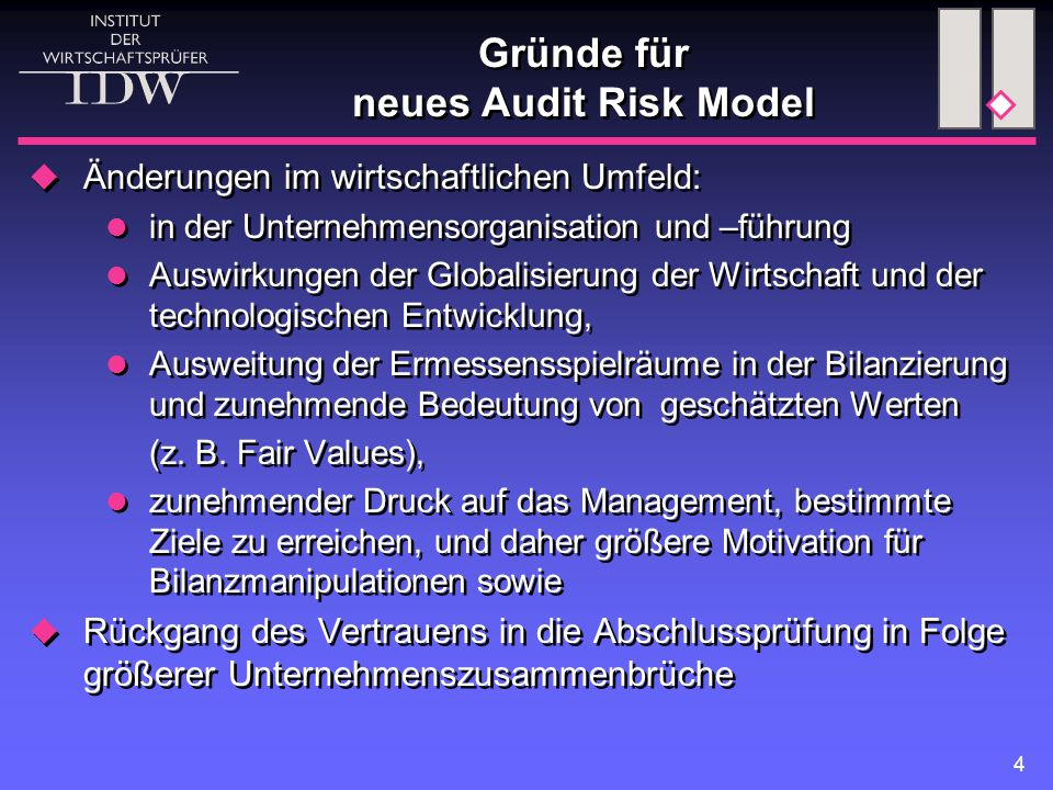 Gründe für neues Audit Risk Model