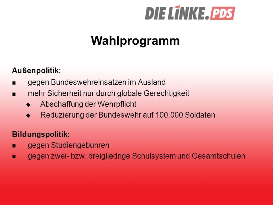Wahlprogramm Außenpolitik: gegen Bundeswehreinsätzen im Ausland