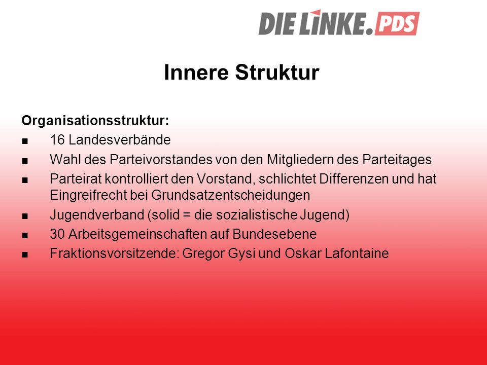 Innere Struktur Organisationsstruktur: 16 Landesverbände