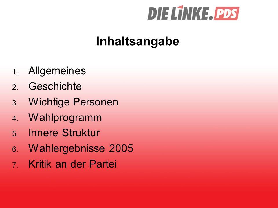 Inhaltsangabe Allgemeines Geschichte Wichtige Personen Wahlprogramm