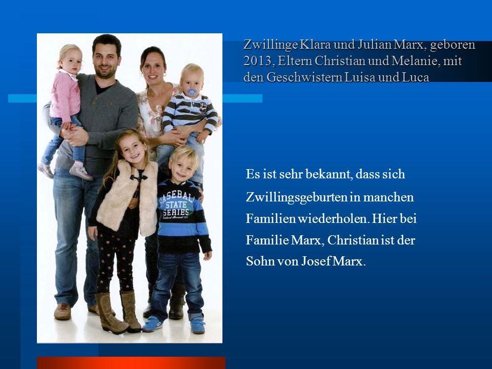 Zwillinge Klara und Julian Marx, geboren 2013, Eltern Christian und Melanie, mit den Geschwistern Luisa und Luca