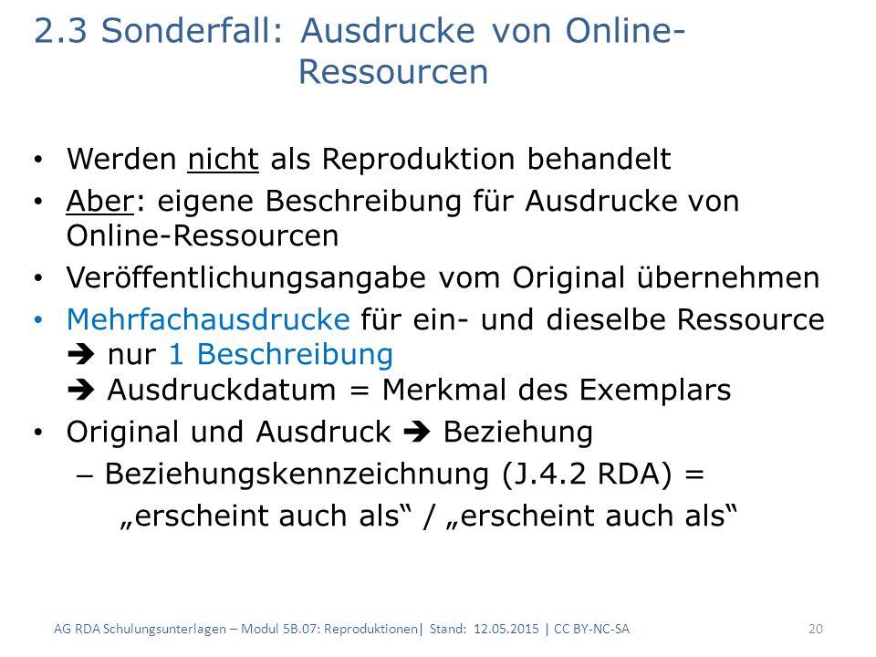 2.3 Sonderfall: Ausdrucke von Online- Ressourcen