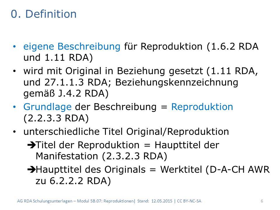 0. Definition eigene Beschreibung für Reproduktion (1.6.2 RDA und 1.11 RDA)
