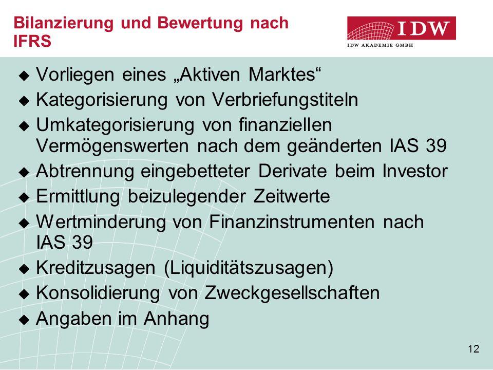 Bilanzierung und Bewertung nach IFRS