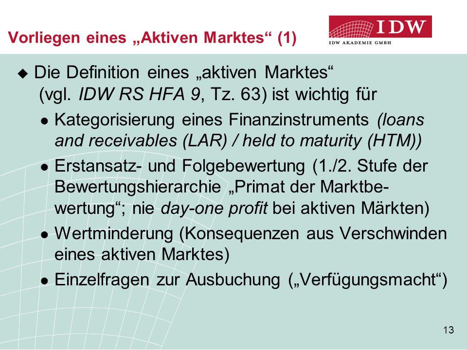 """Vorliegen eines """"Aktiven Marktes (1)"""