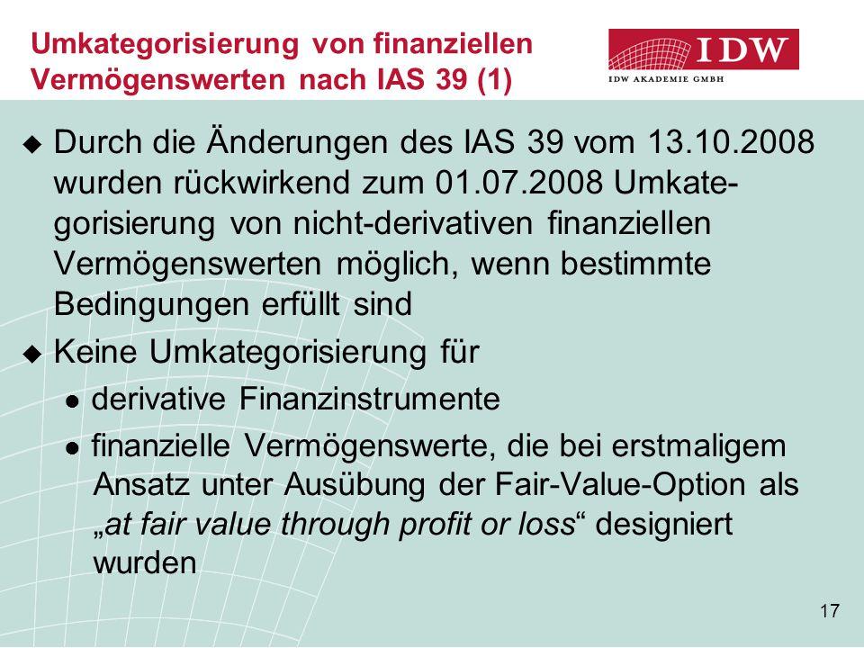 Umkategorisierung von finanziellen Vermögenswerten nach IAS 39 (1)
