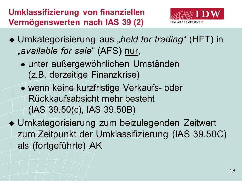 Umklassifizierung von finanziellen Vermögenswerten nach IAS 39 (2)