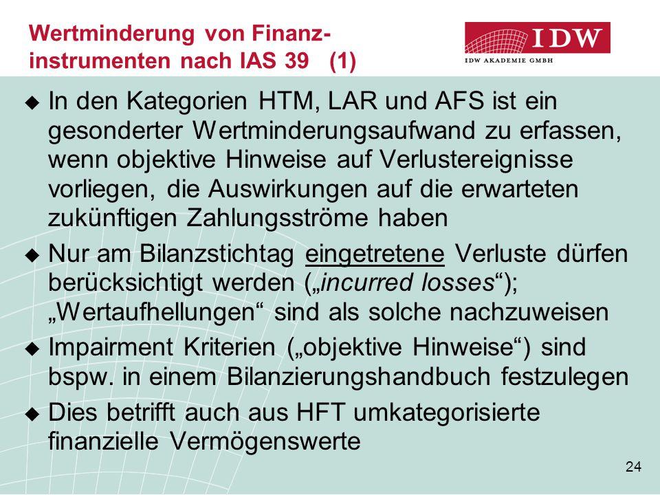 Wertminderung von Finanz-instrumenten nach IAS 39 (1)