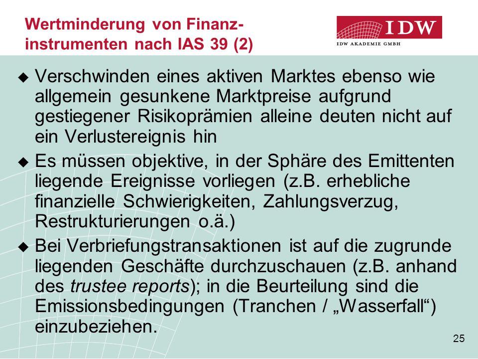 Wertminderung von Finanz- instrumenten nach IAS 39 (2)
