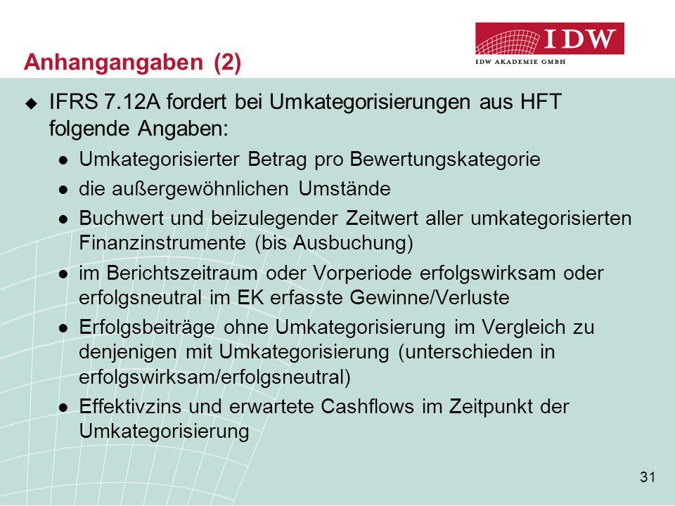 Anhangangaben (2) IFRS 7.12A fordert bei Umkategorisierungen aus HFT folgende Angaben: Umkategorisierter Betrag pro Bewertungskategorie.