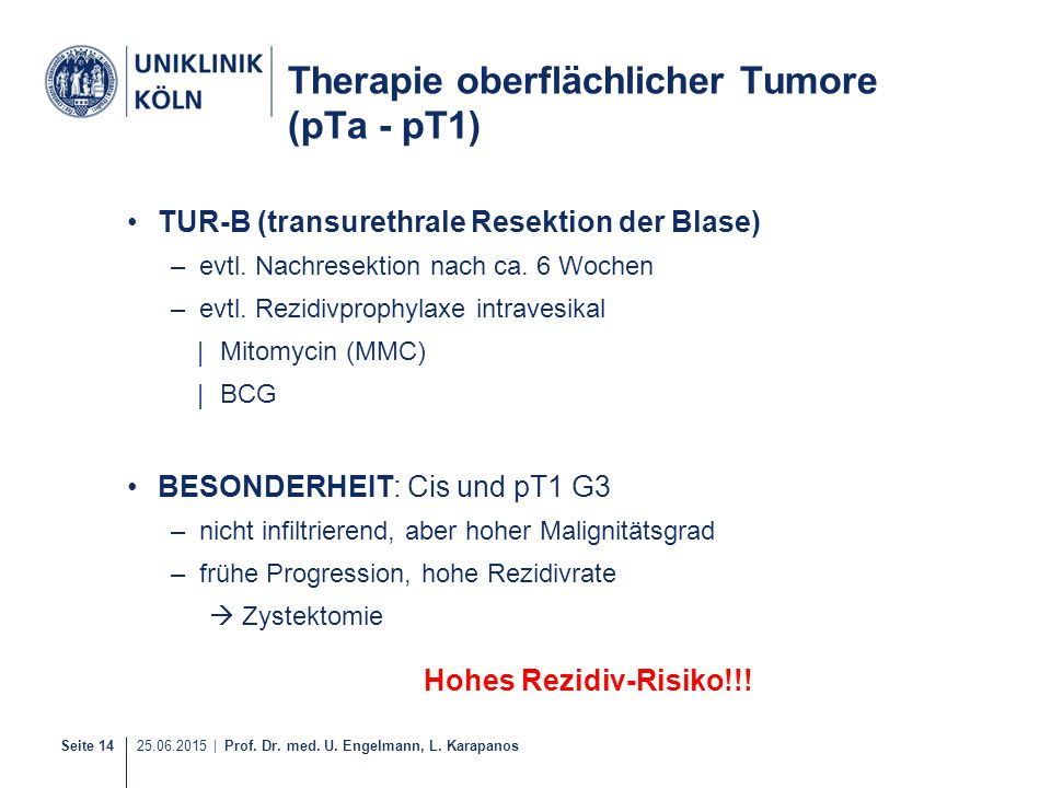 Therapie oberflächlicher Tumore (pTa - pT1)