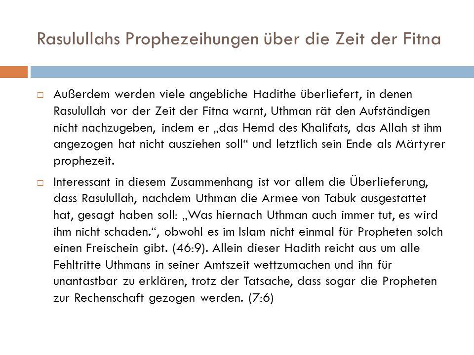 Rasulullahs Prophezeihungen über die Zeit der Fitna