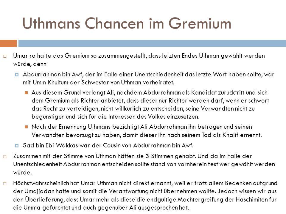 Uthmans Chancen im Gremium